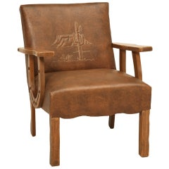 "Original Vintage Cowboy ""Ranch Oak"" Armchair w/Horseshoe Arms & Cactus, Too"