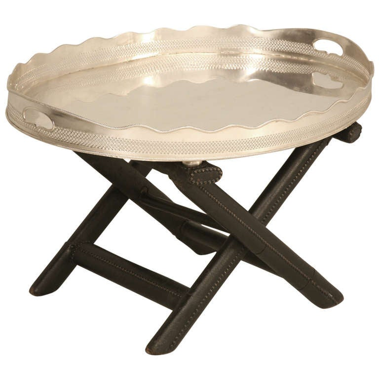 1940 39 S French Silver Tray On Leather Stand For Sale At 1stdibs