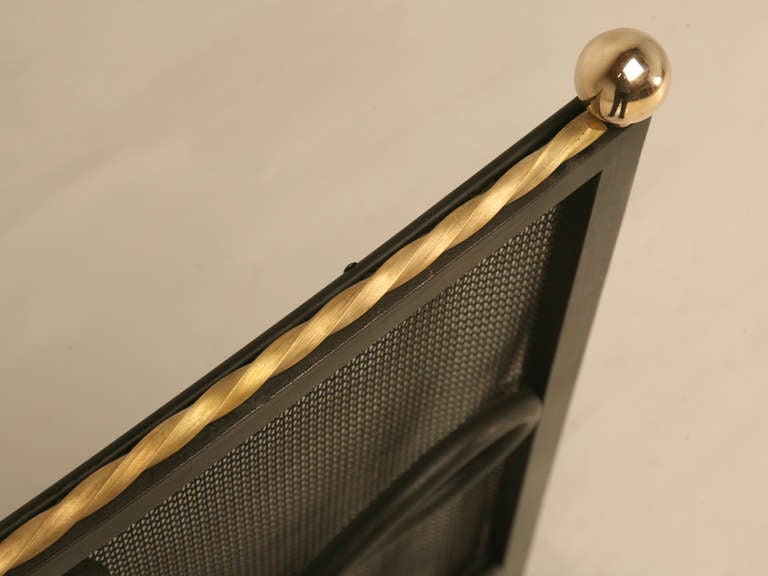 Custom Steel And Brass Fireplace Screen And Mesh At 1stdibs