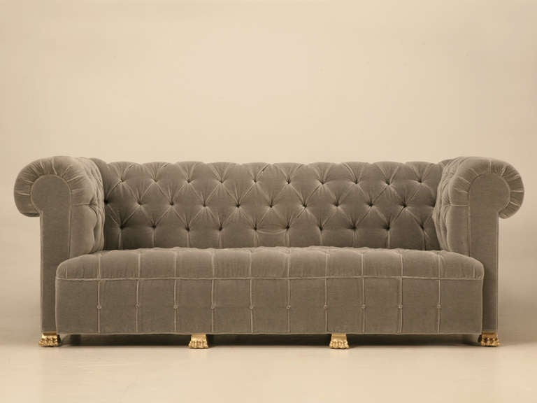 Chesterfield in Mohair with Solid Bronze Paw Feet For Sale at 1stdibs