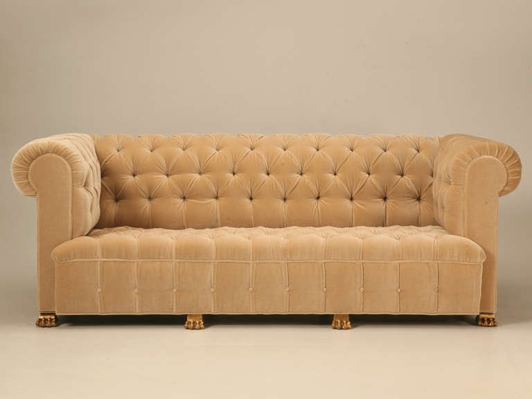 Custom French Mid Century Tufted Back Sofa With Gold