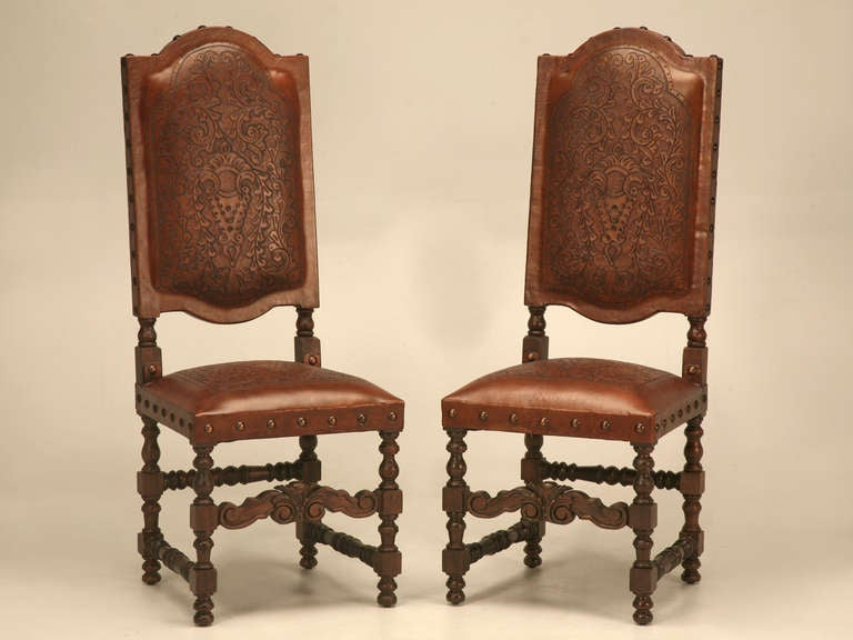 spanish inspired hand tooled leather dining chairs at 1stdibs