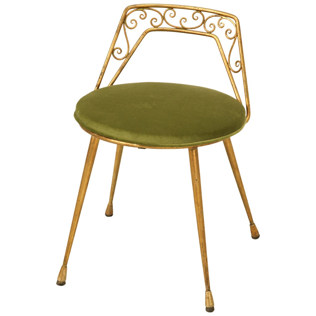 Elegant 1940s Italian Gilt Dressing Stool With Back And