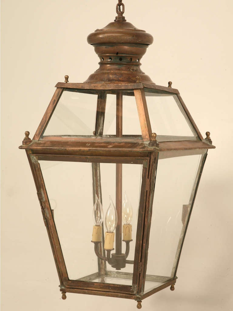 Incredible Antique French Copper Hanging Pendant Lantern Just Rewired 2