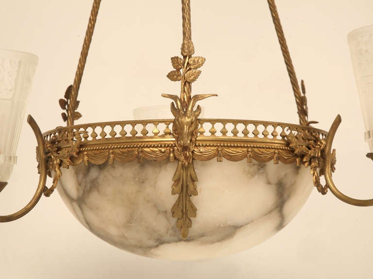 Jaw Dropping French Alabaster Hanging Light Fixture W Art