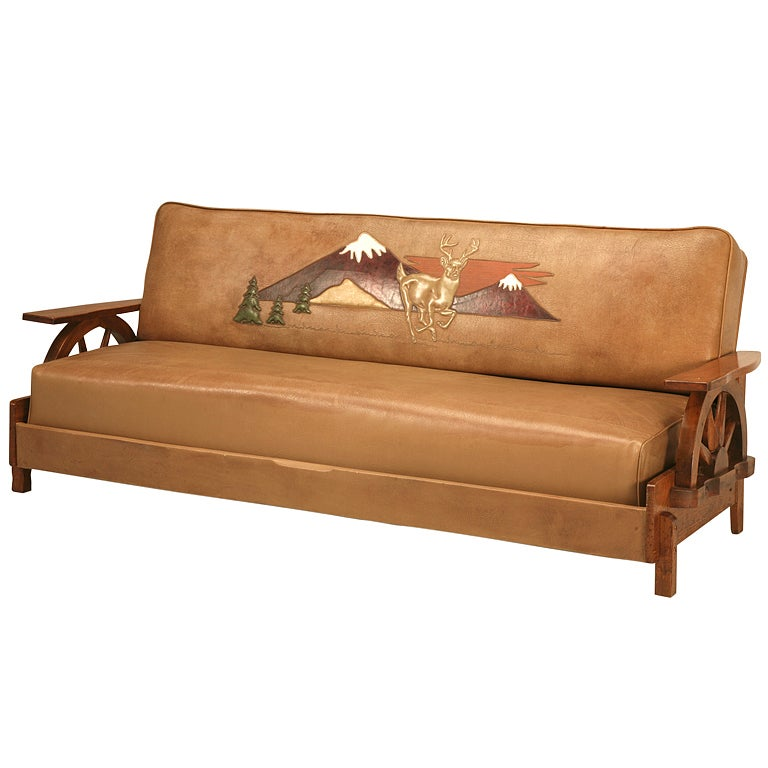 Fantastic original cowboy ranch oak sofa w wagon wheels Cowboy sofa