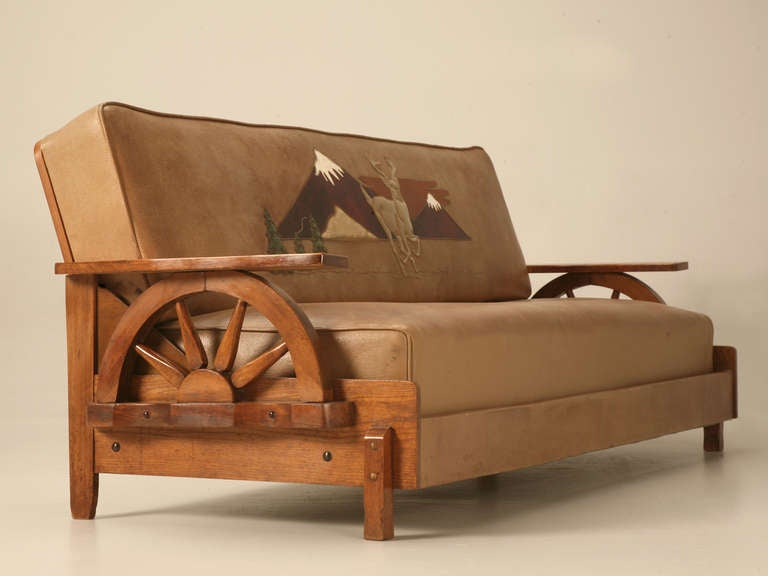 Oak Sofa Set ~ Fantastic original cowboy quot ranch oak sofa w wagon wheels