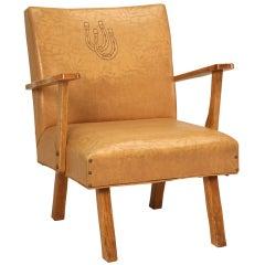 "Original American ""Ranch Oak"" Cowboy Club Chair w/Horseshoes"
