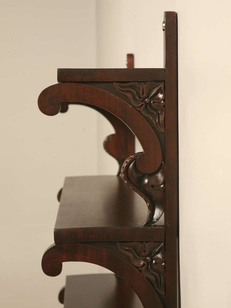 antique english mahogany 3 tier wall shelves for sale at. Black Bedroom Furniture Sets. Home Design Ideas