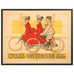 Bicycle Poster from Dijon, France circa 1905 by Rene Vincent, 1stdibs New York