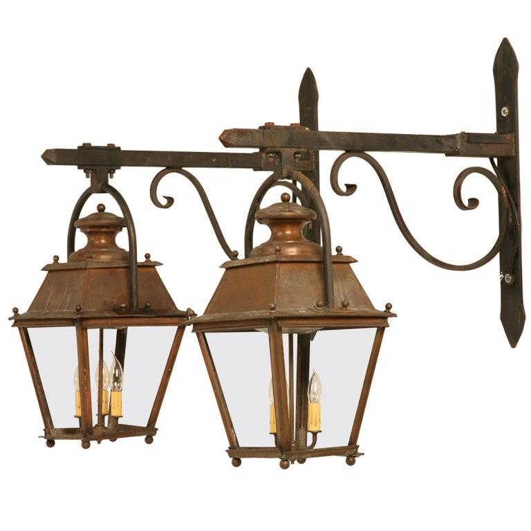 Original Antique French Copper Lanterns W Hand Wrought