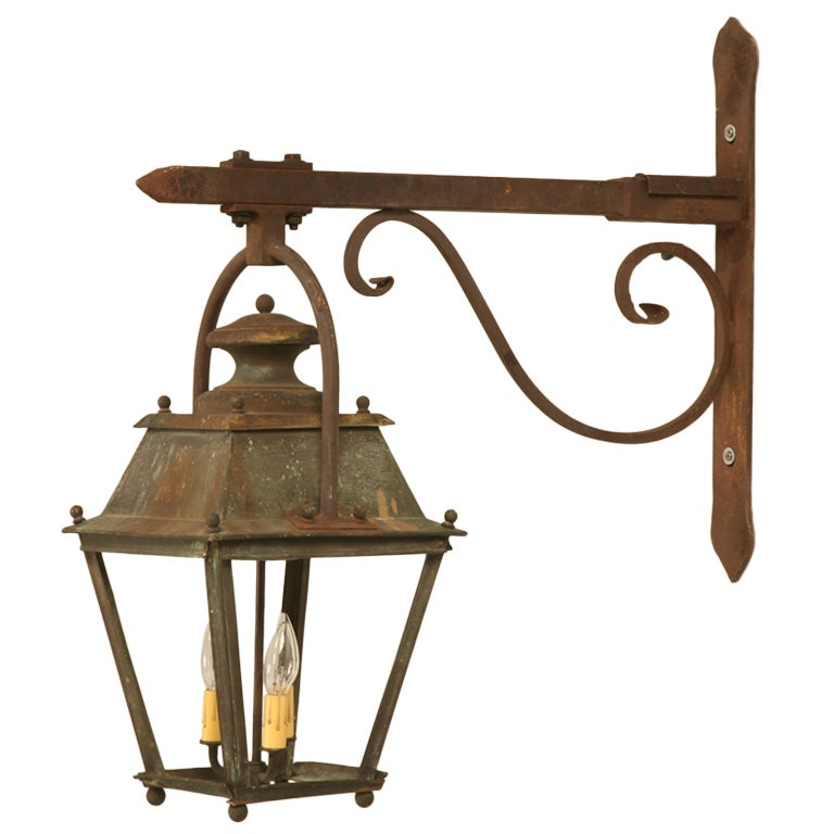 original antique french copper lantern on hand wrought iron bracket just rewired at 1stdibs. Black Bedroom Furniture Sets. Home Design Ideas
