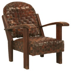 Chic & Unique Vintage French Hand Woven Leather Club Chair-Art Deco?