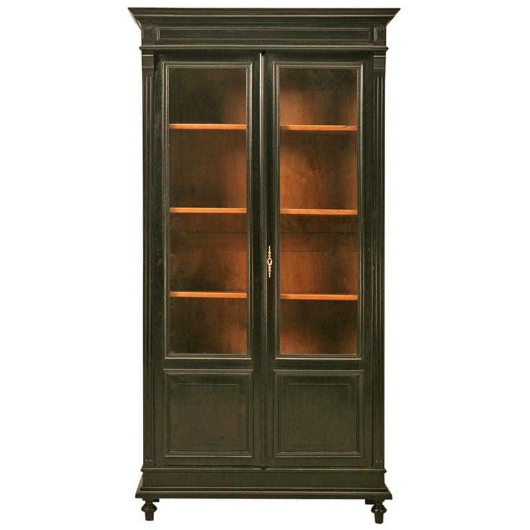 Vaisselier Etroit: Circa 1880 Ebonized French Bookcase Or China Cabinet At