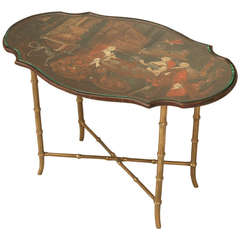 French Solid Brass And Black Coffee Table At 1stdibs