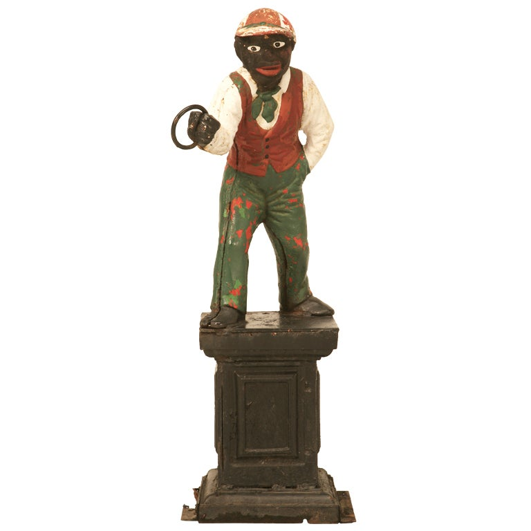 "Original Black Americana ""Jocko the Jockey"" Cast Iron Hitching Post"
