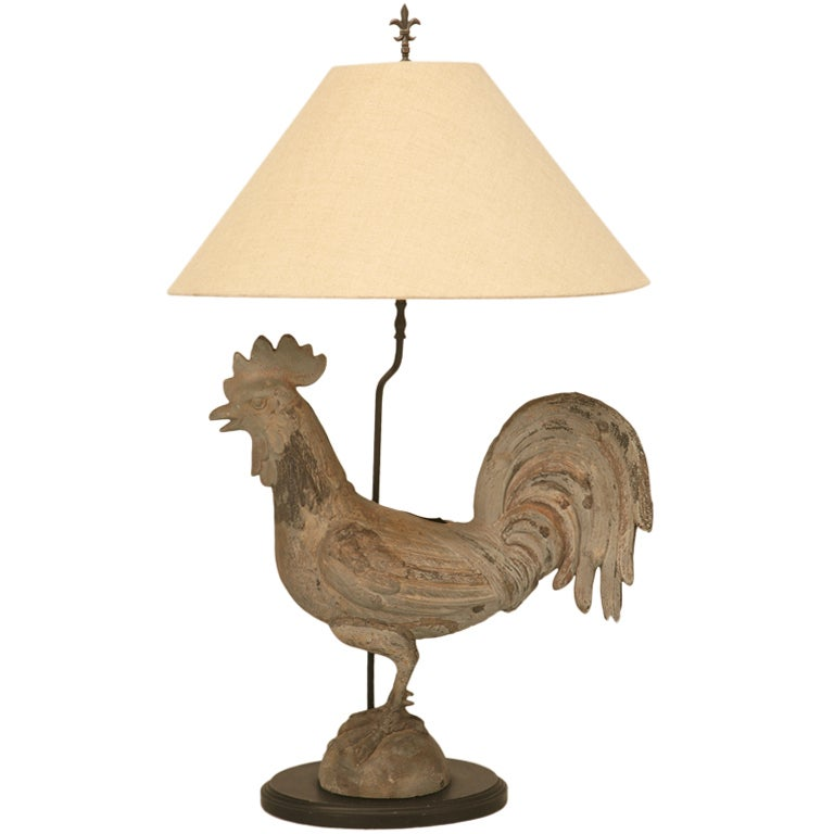 Awesome Antique French Zinc Rooster Table Lamp At 1stdibs