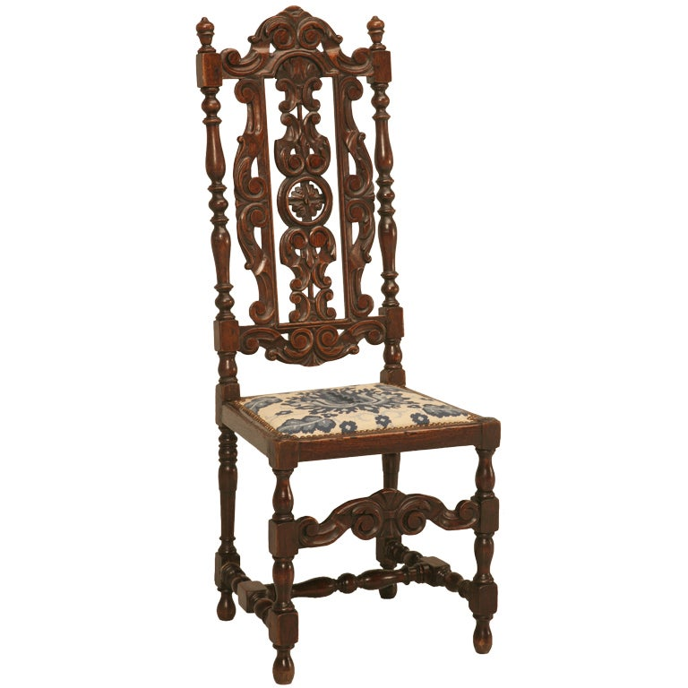 Glamorous Antique French Hand Carved Side/Desk Chair w/Needlepoint Seat