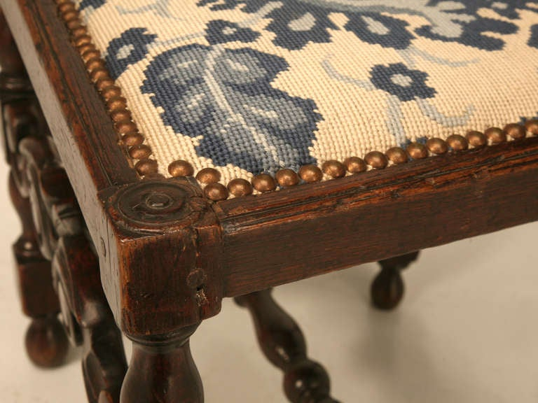 Glamorous Antique French Hand Carved Side/Desk Chair w/Needlepoint Seat For Sale 1