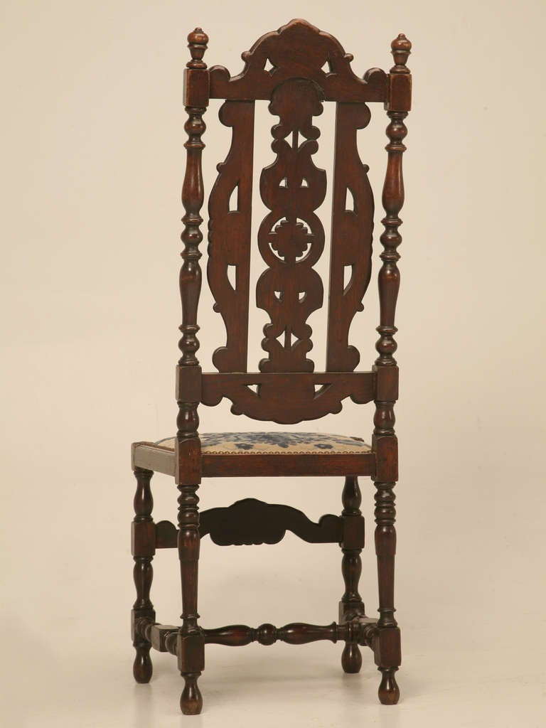 Glamorous Antique French Hand Carved Side/Desk Chair w/Needlepoint Seat For Sale 5