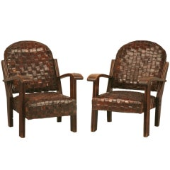 Chic & Unique Pair of Vintage French Hand Woven Leather Club Chairs-Art Deco?