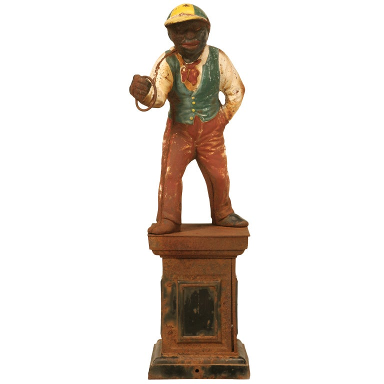 "Original Black Americana ""Jocko the Jockey"" Cast Iron Hitching Post 1"