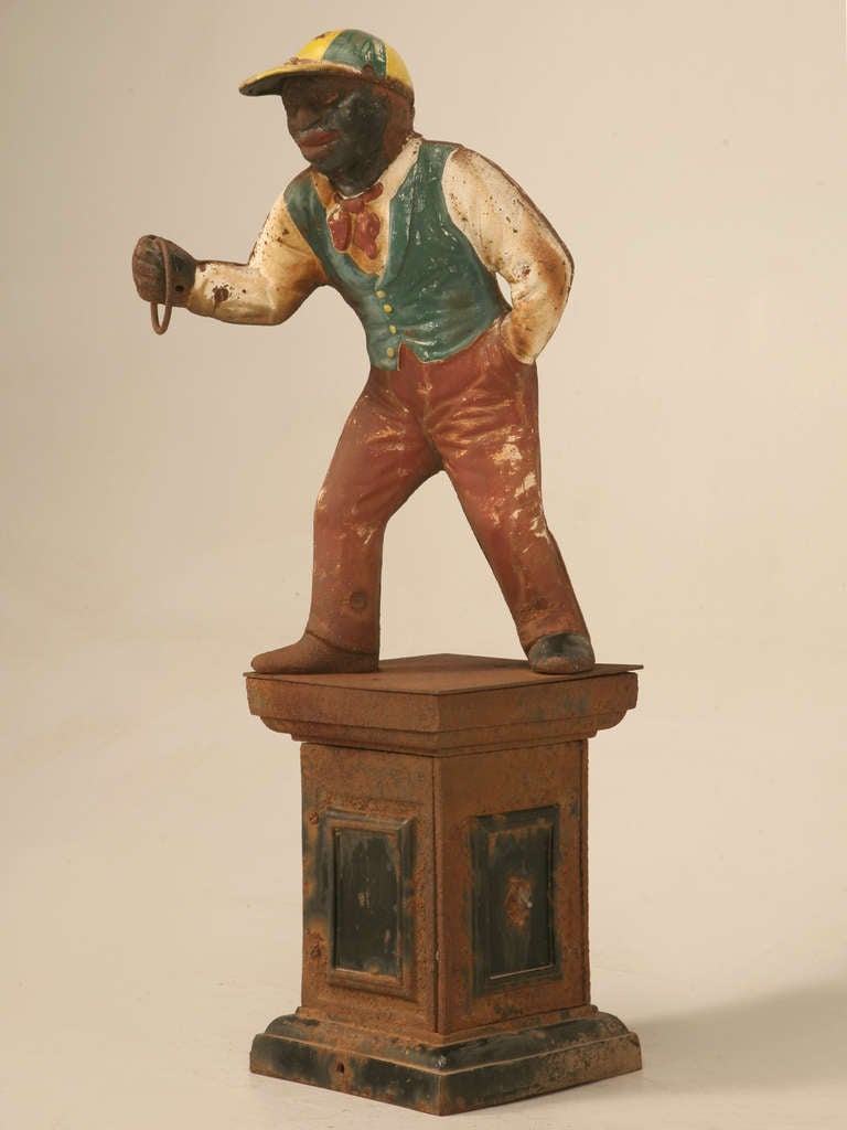 "Original Black Americana ""Jocko the Jockey"" Cast Iron Hitching Post 2"