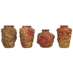 Collection of Four Early Examples of Goofus Glass in the Form of Vases