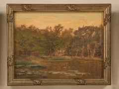 Original Antique French Oil Painting of a Village Lake in Newer Custom Frame