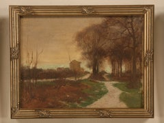 Original Antique French Oil Painting of Meandering Roads in Newer Custom Frame