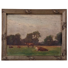 Original Antique French Oil Painting of Cattle in Newer Custom Frame