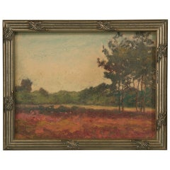 Original Antique French Oil Painting of a Landscape in Newer Custom Frame