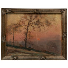 Original Antique French Oil Painting of a Sunset in Newer Custom Frame