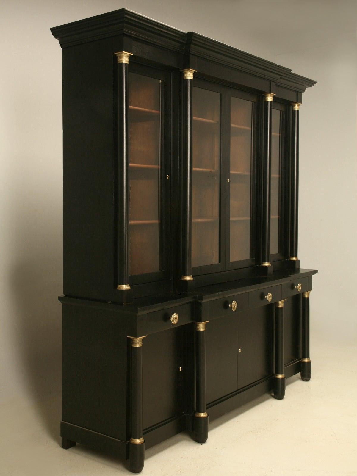 French Empire Style Bookcase With An Ebonized Magohany