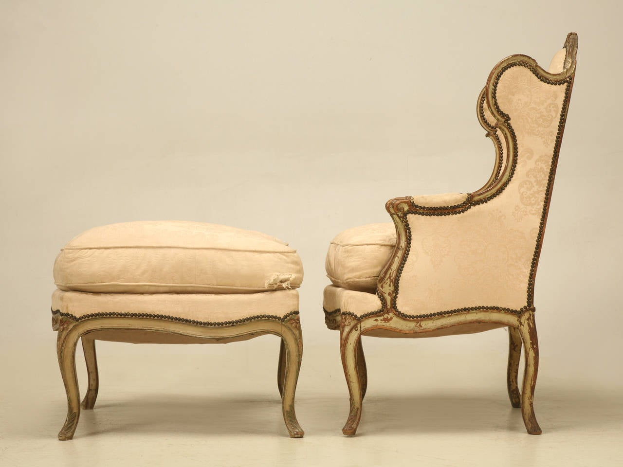 Bergere chair and ottoman - Louis Xv Style French Antique Bergere And Ottoman In Original Paint 2
