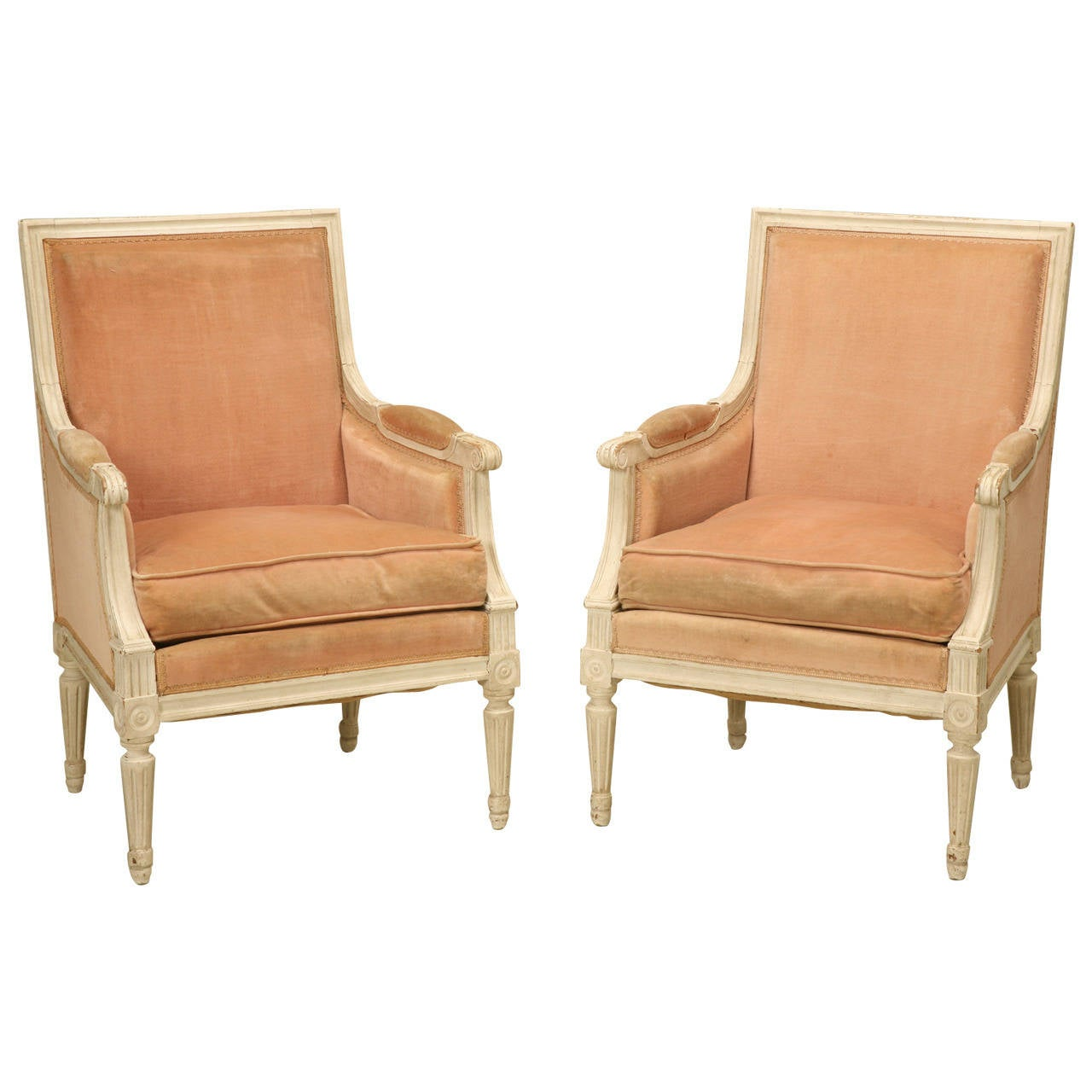 Bergere chair and ottoman - French Louis Xvi Style Bergere Chairs In Original Paint 1