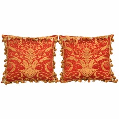 Opulent Pair of Lavish Red & Gold Pillows Adorned with Carved Jade Roosters