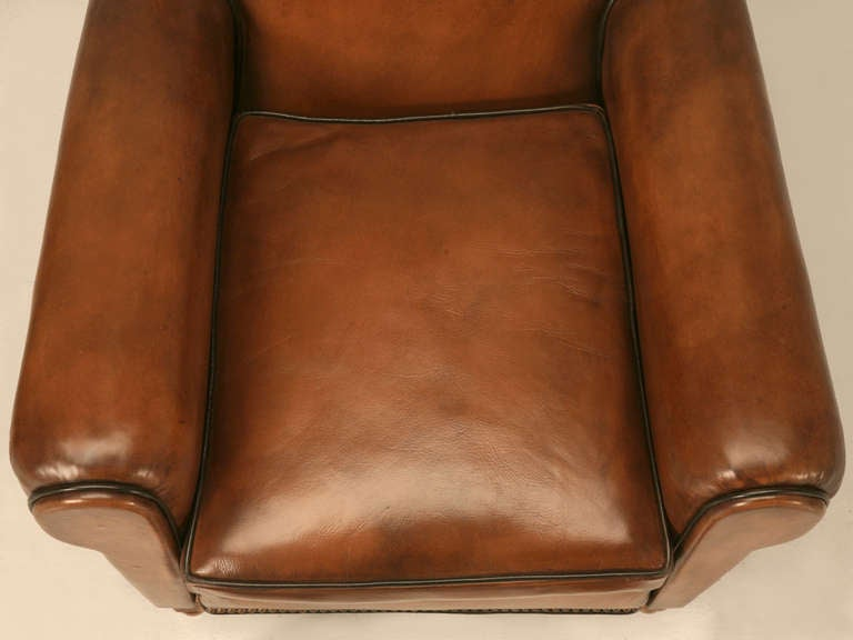 Leather Pair Fully Restored 1930's French Club Chair w/Moustache Back & New Everything For Sale