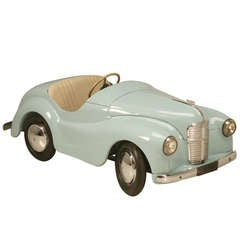 """Original Vintage Austin J40 """"Joy IV"""" Roadster Blue Over White Pedal Car #17337"""