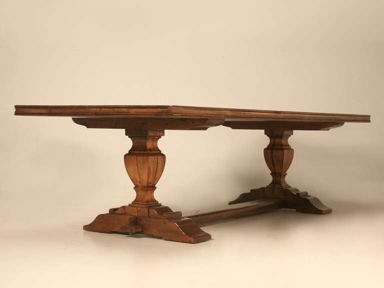 Contemporary French Style Trestle Dining Table Made in Chicago by Old Plank For Sale