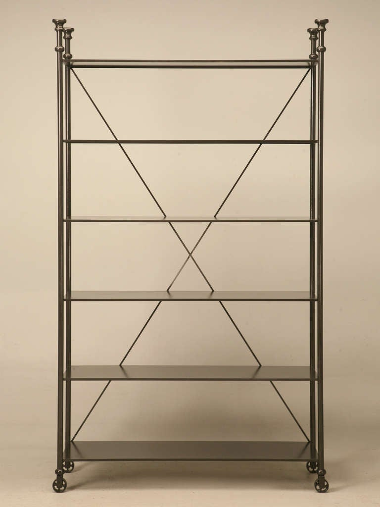 industrial style etagere in steel and bronze for sale at 1stdibs. Black Bedroom Furniture Sets. Home Design Ideas