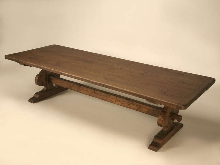 Italian Trestle Dining Table From Reclaimed Wood At 1stdibs