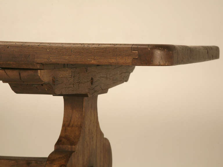 American Italian Trestle Dining Table from Reclaimed Wood For Sale