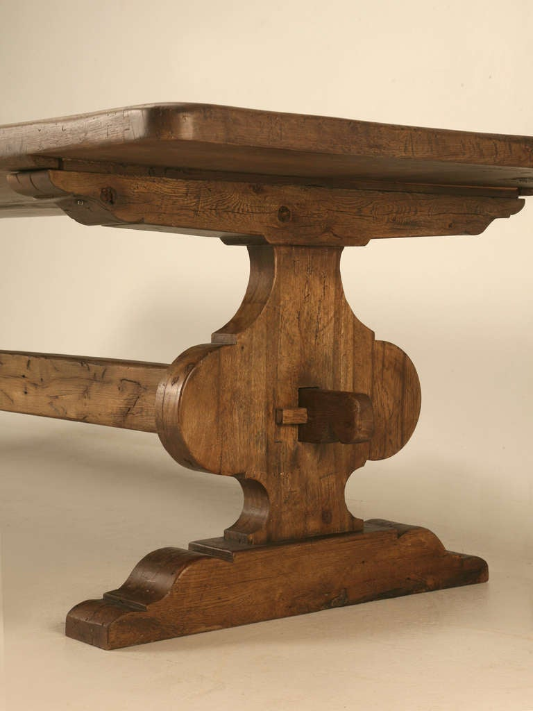 Italian Trestle Dining Table from Reclaimed Wood In Excellent Condition For Sale In Chicago, IL