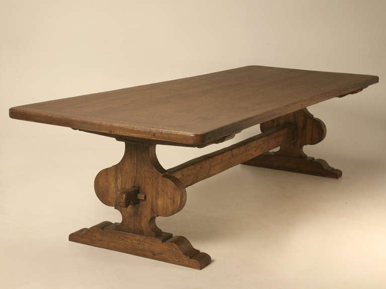 Contemporary Italian Trestle Dining Table from Reclaimed Wood For Sale