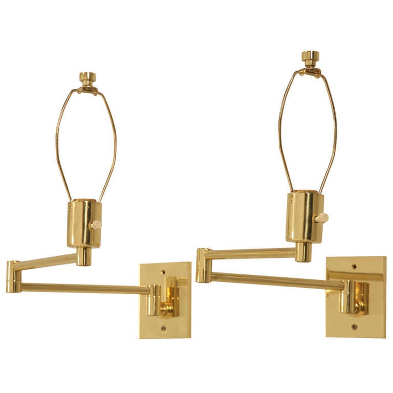 Wall Sconces Nyc: Pair Solid Brass Swing Arm Sconces By Hansen New York At