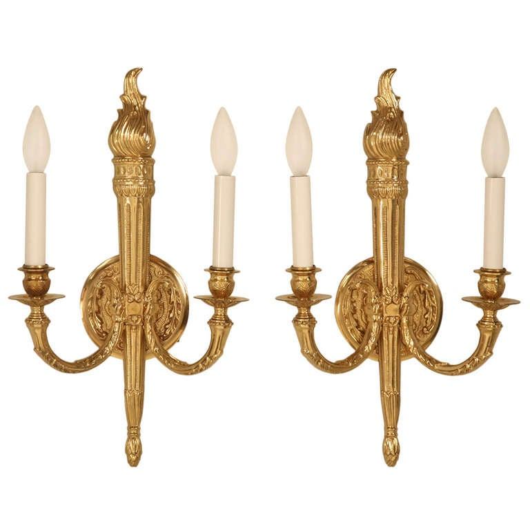 French Brass Wall Sconces : Vintage Solid Brass French Sconces For Sale at 1stdibs