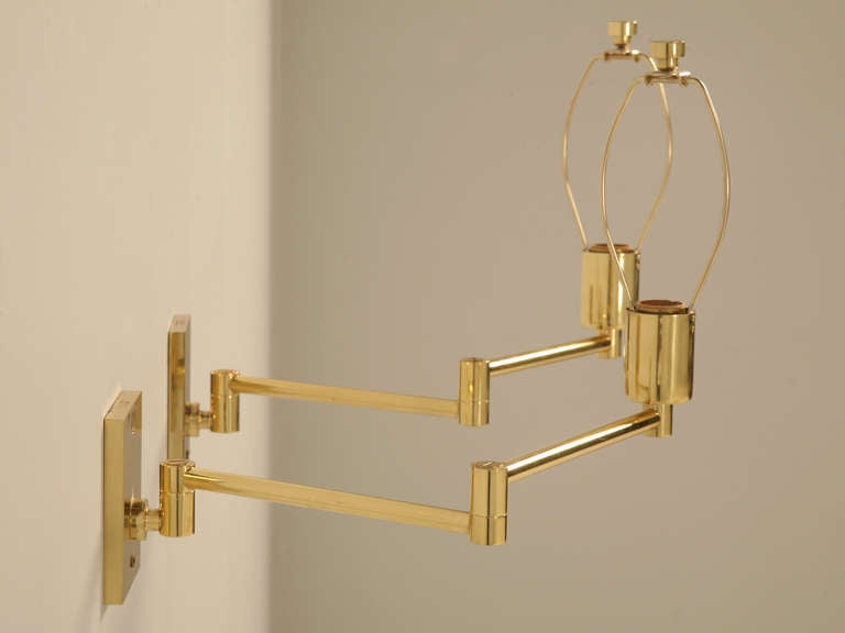 Pair Solid Brass Swing Arm Sconces By Hansen New York At