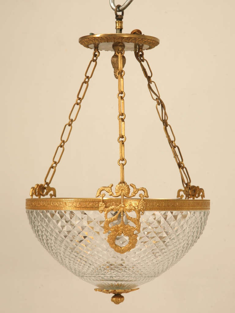 Vintage French Style Brass And Glass Chandelier At 1stdibs