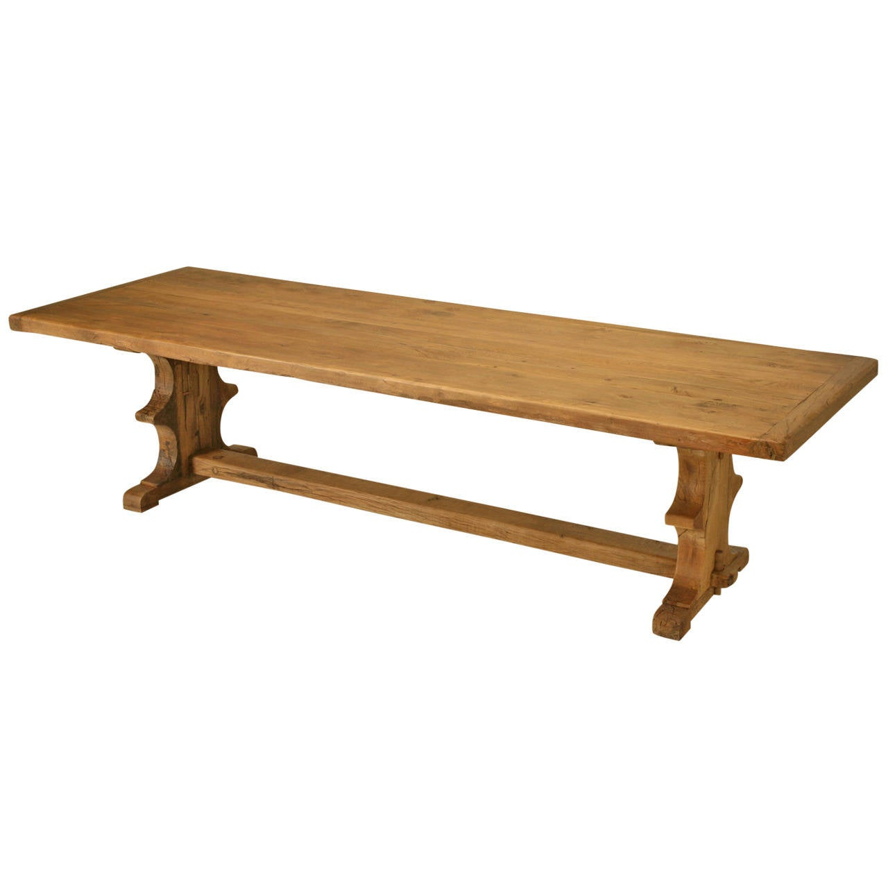 Antique french white oak trestle dining table at 1stdibs - Antique french dining tables ...